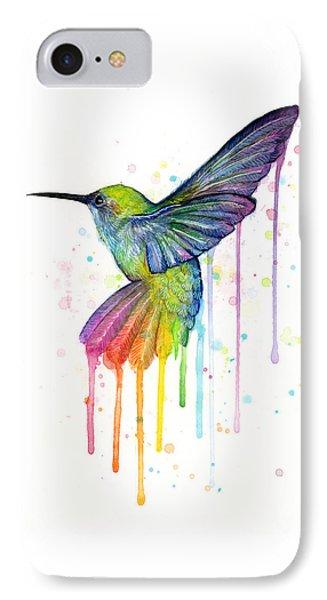 Animals iPhone 8 Case - Hummingbird Of Watercolor Rainbow by Olga Shvartsur