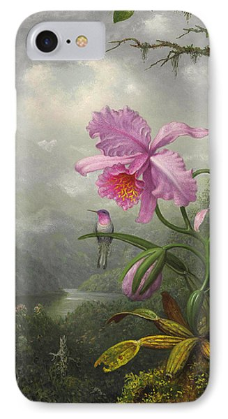 Orchid iPhone 8 Case - Hummingbird Perched On The Orchid Plant by Martin Johnson Heade