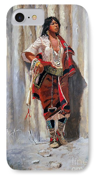 Indian Maid At Stockade By Charles Marion Russell IPhone Case