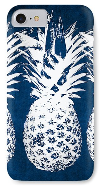 Beach iPhone 8 Case - Indigo And White Pineapples by Linda Woods