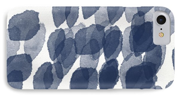 Wood iPhone 8 Case - Indigo Rain- Abstract Blue And White Painting by Linda Woods