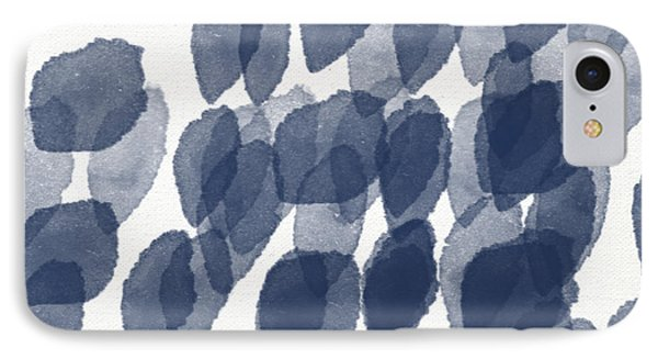 Indigo Rain- Abstract Blue And White Painting IPhone Case