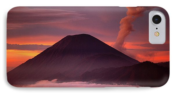 Mountain iPhone 8 Case - Indonesia Mt Semeru Emits A Plume by Jaynes Gallery