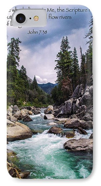 Inspirational Bible Scripture Emerald Flowing River Fine Art Original Photography IPhone Case