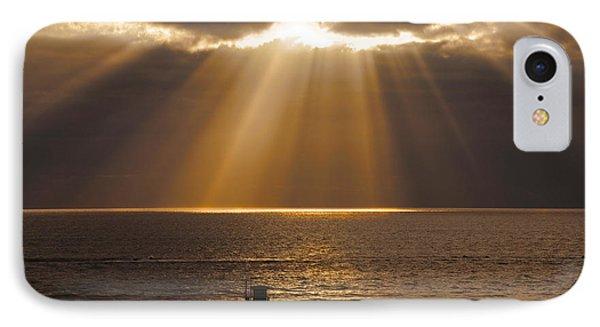 Inspirational Sun Rays Over Calm Ocean Clouds Bible Verse Photograph IPhone Case
