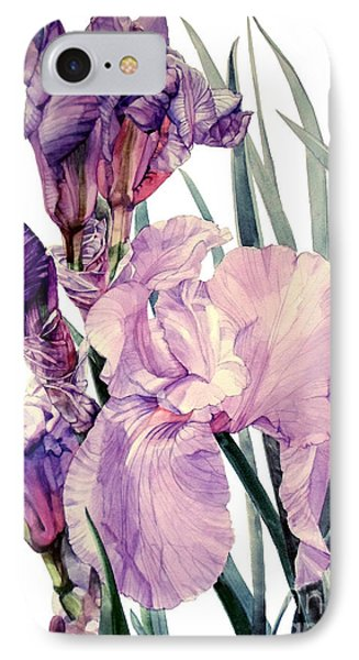 Watercolor Of An Elegant Tall Bearded Iris In Pink And Purple I Call Iris Joan Sutherland IPhone Case