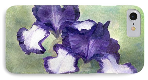 Irises Duet In Purple Flowers Colorful Original Painting Garden Iris Flowers Floral K. Joann Russell IPhone Case
