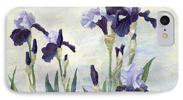 Irises Purple Flowers Painting Floral K. Joann Russell                                           IPhone Case