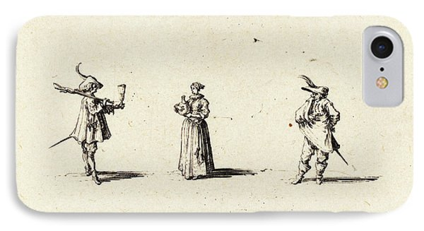 Jacques Callot French, 1592 - 1635, Lady With Wine Bottle IPhone Case