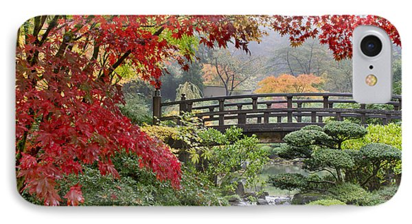 Japanese Maple Trees By The Bridge In Fall IPhone Case