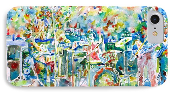 Jerry Garcia And The Grateful Dead Live Concert - Watercolor Portrait IPhone Case