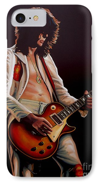Musicians iPhone 8 Case - Jimmy Page In Led Zeppelin Painting by Paul Meijering
