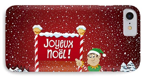 Joyeux Noel Sign Christmas Elf Winter Landscape IPhone Case
