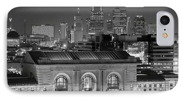 Kansas City Skyline At Night Kc Downtown Black And White Bw Panorama IPhone Case