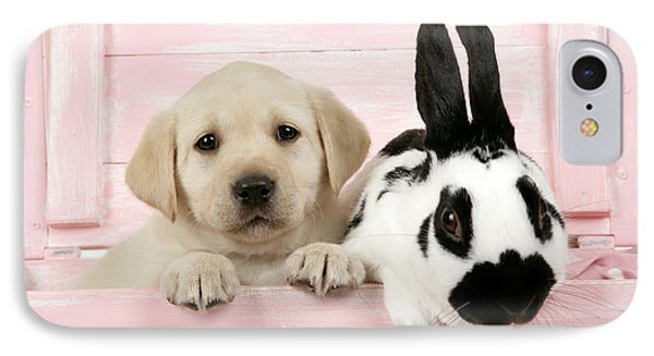 Lab Puppy And Bunny IPhone Case