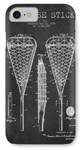 Lacrosse Stick Patent From 1950- Dark IPhone Case