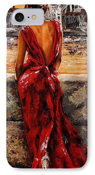 Impressionism iPhone 8 Case - Lady In Red  34 -  I Love Budapest by Emerico Imre Toth