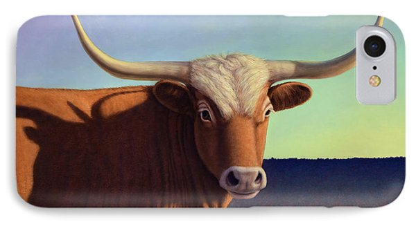 Bull iPhone 8 Case - Lady Longhorn by James W Johnson