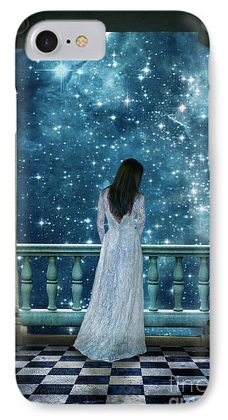 Lady On Balcony At Night IPhone Case