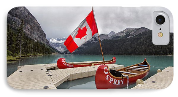 Lake Louise Canoes And Flag IPhone Case