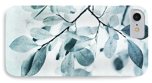 Nature iPhone 8 Case - Leaves In Dusty Blue by Priska Wettstein