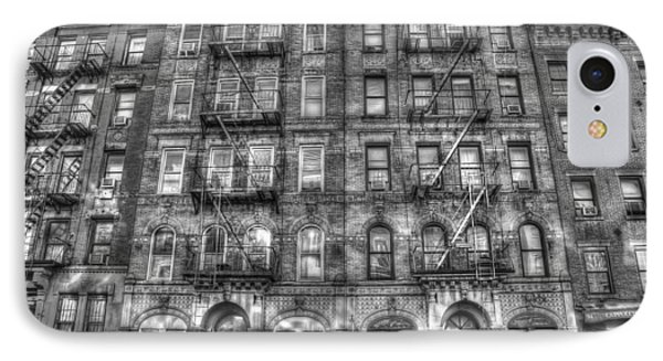 Rock And Roll iPhone 8 Case - Led Zeppelin Physical Graffiti Building In Black And White by Randy Aveille