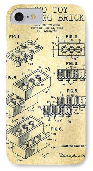 Lego Toy Building Brick Patent - Vintage IPhone Case