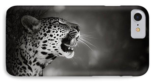 White iPhone 8 Case - Leopard Portrait by Johan Swanepoel