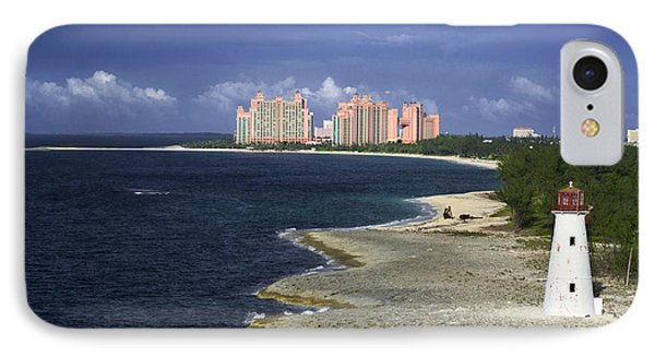 Lighthouse On Colonial Beach With Atlantis Paradise Resort Bahamas IPhone Case