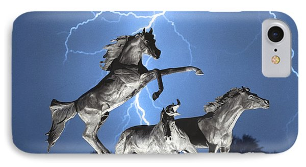 Lightning At Horse World Bw Color Print IPhone Case