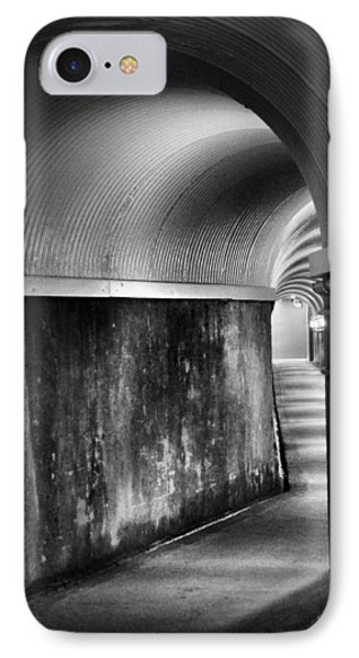 Lights At The End Of The Tunnel In Black And White IPhone Case