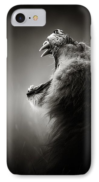 Cat iPhone 8 Case - Lion Displaying Dangerous Teeth by Johan Swanepoel