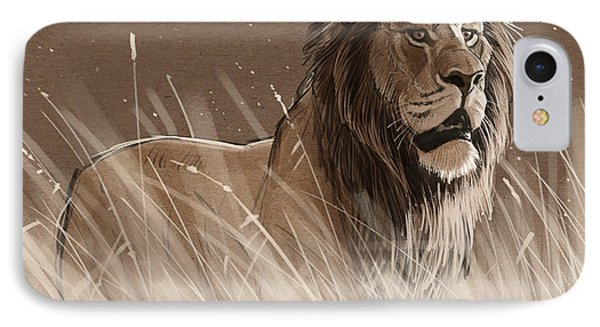 Lion In The Grass IPhone Case
