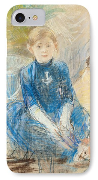 Little Girl With A Blue Jersey, 1886 Pastel On Canvas IPhone Case