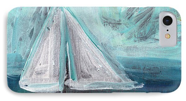Little Sailboat- Expressionist Painting IPhone Case