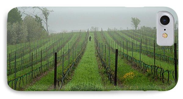 Lone Figure In Vineyard In The Rain On The Mission Peninsula Michigan IPhone Case