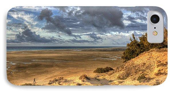 Lone Stroller On A Vast Beach Under Dramatic Sky IPhone Case