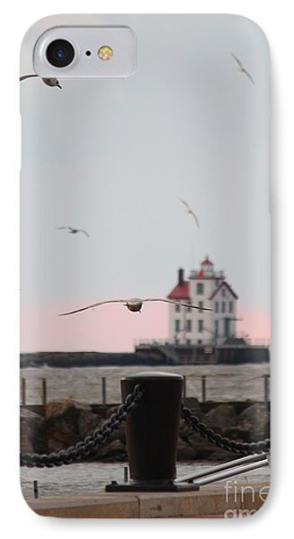 Lorain Lighthouse With Gulls IPhone Case