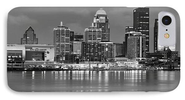 Louisville Skyline At Dusk Sunset Bw Black And White Panorama Kentucky IPhone Case