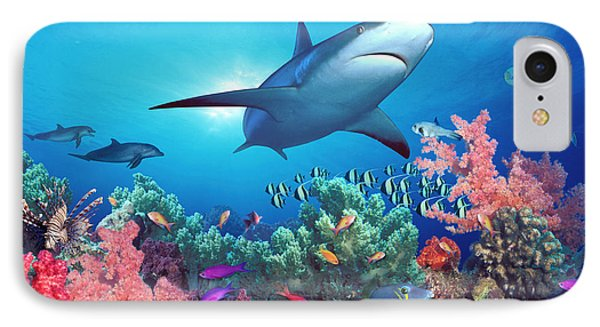 Low Angle View Of A Shark Swimming IPhone Case
