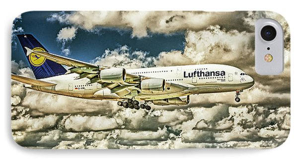 Lost In The Clouds Lufthansa A380 Named Hamburg-colorized Abstract IPhone Case