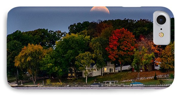 Lunar Eclipse Over Pewaukee Lake IPhone Case