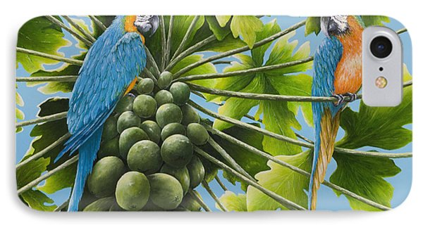 Macaw Parrots In Papaya Tree IPhone Case