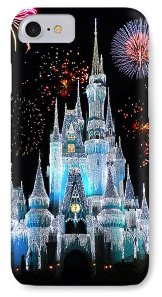 Castle iPhone 8 Case - Magic Kingdom Castle In Frosty Light Blue With Fireworks 06 by Thomas Woolworth