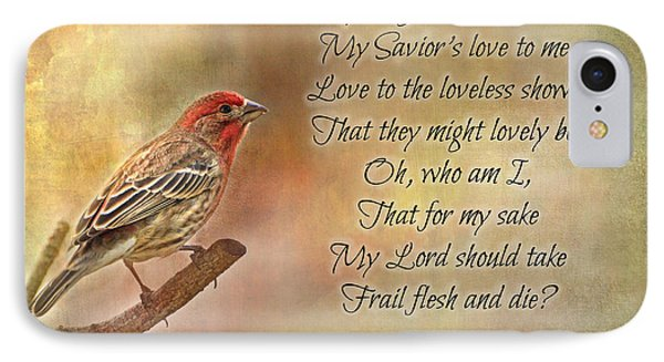 Male House Finch With Hymn IIi IPhone Case