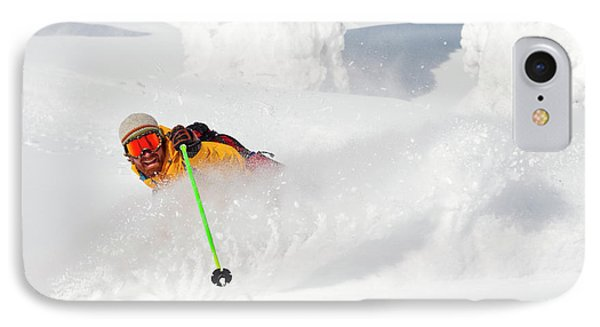 Knit Hat iPhone 8 Case - Male Skier Makes A Deep Powder Turn by Craig Moore