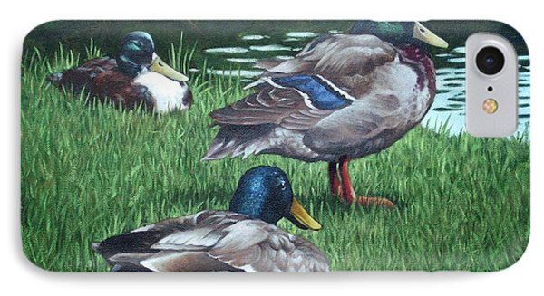 Mallards On River Bank IPhone Case
