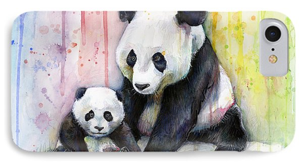 Print iPhone 8 Case - Panda Watercolor Mom And Baby by Olga Shvartsur