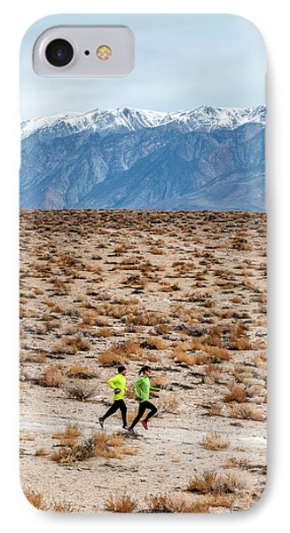 Knit Hat iPhone 8 Case - Man And Woman  Trail Running by Rick Saez