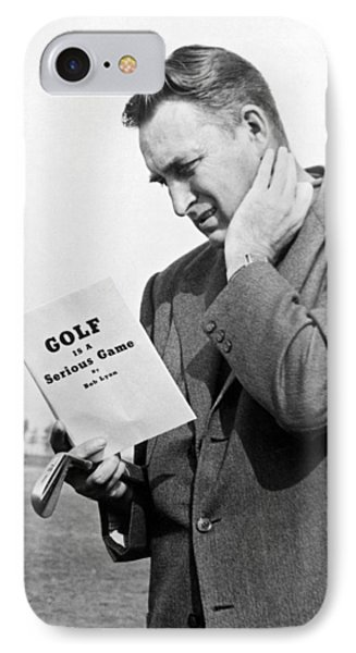 Man Studying A Golf Book IPhone Case